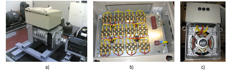 Test bench with reconfigurable multiphase two-pole synchronous machine prototype: a) machine coupled to a load; b) a terminal box where all stator coils are individually connected to an accessible lead for winding reconfiguration; b) internal view of the prototype showing connections between stator coils and terminal box leads.